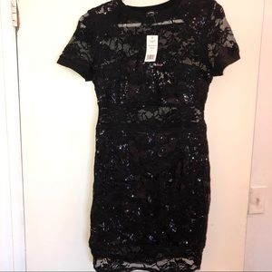 Bebe Sequin and Lace Tee Dress